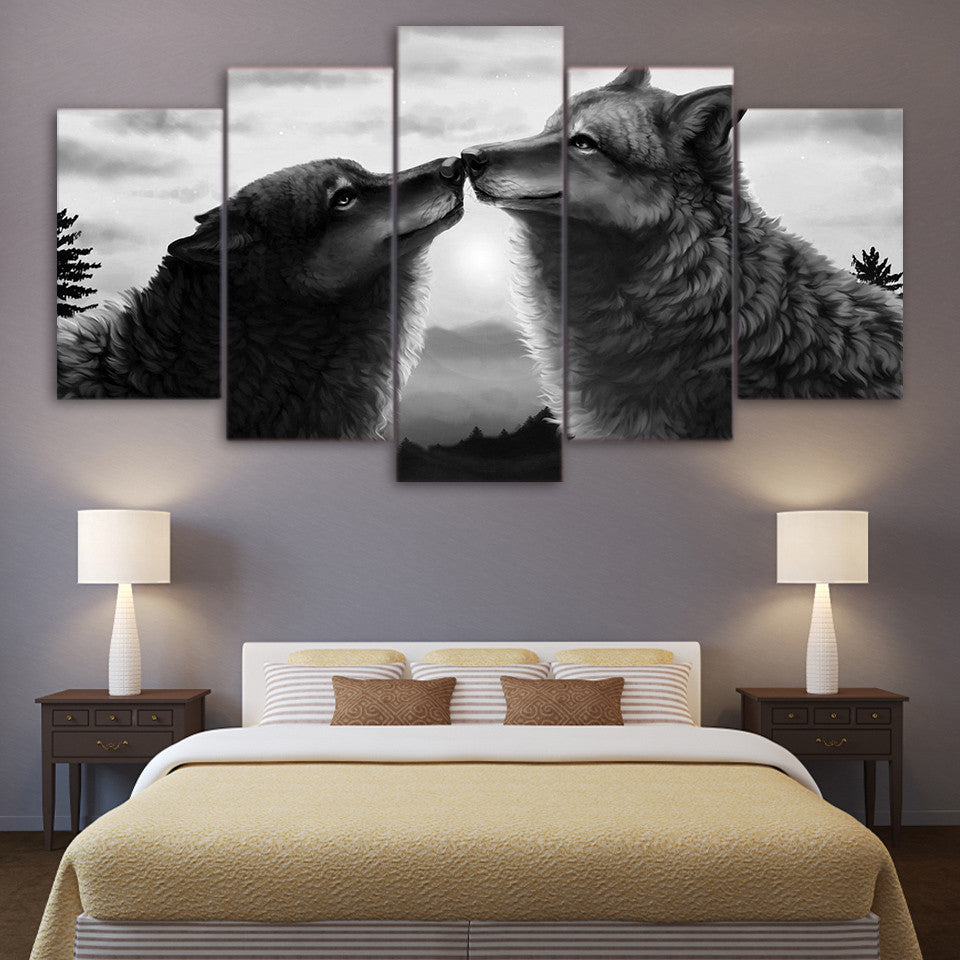Limited Edition 5 Piece Abstract Black Couple Wolf Canvas