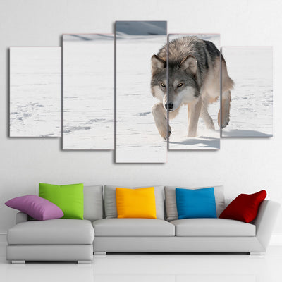 Limited Edition 5 Piece  Alert Wolf in Snow Canvas