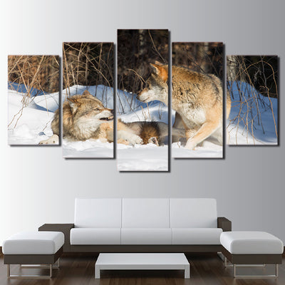 Limited Edition 5 Piece Angry Brown Wolves Canvas
