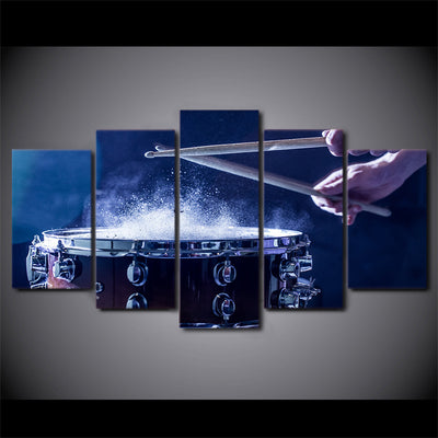Limited Edition 5 Piece Artistic Blue Drum Canvas