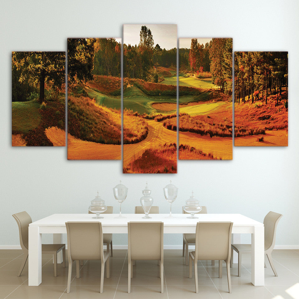 Limited Edition 5 Piece Autumn Golf Course Canvas
