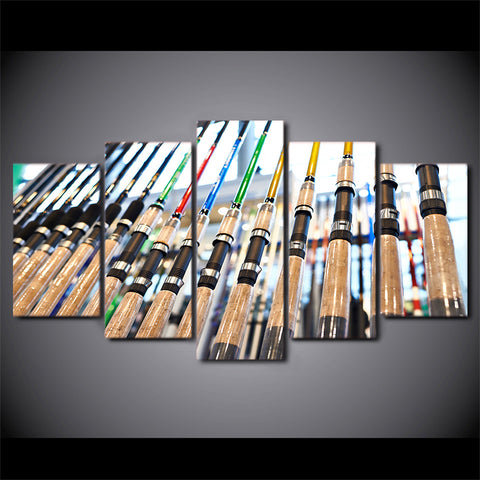 Limited Edition 5 Piece Awesome Fishing Poles Canvas