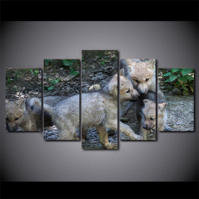 Limited Edition 5 Piece Baby Wolves Playing Canvas