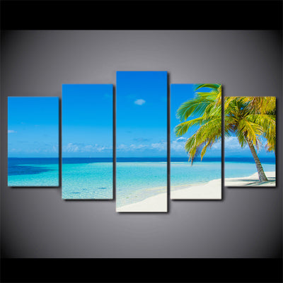 Limited Edition 5 Piece White Beach With Palm Trees Canvas