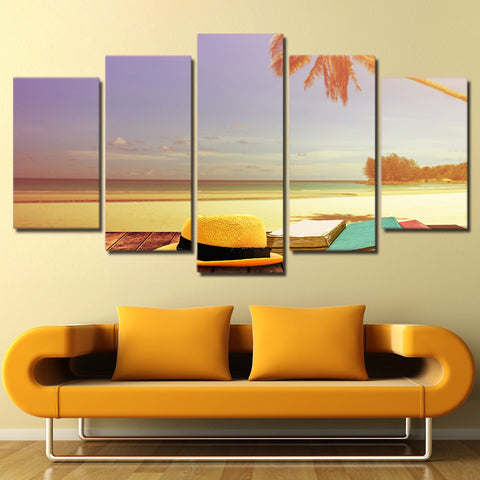 Limited Edition 5 Piece Beautiful Sunset At The Beach Canvas