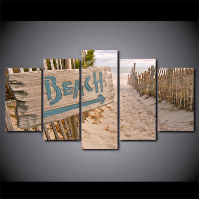 Limited Edition 5 Piece White Beach With Fence Canvas