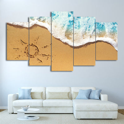 Limited Edition 5 Piece  Beach Sand And Waves Canvas