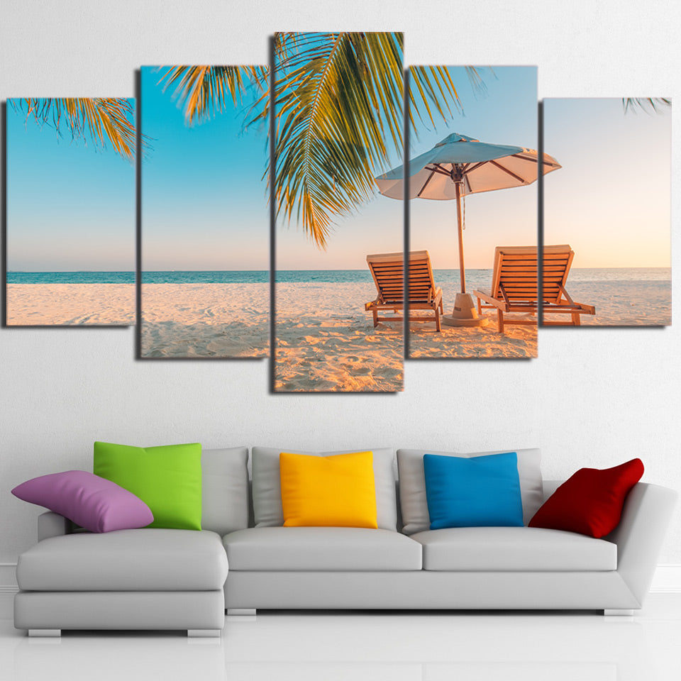 Limited Edition 5 Piece Beach Umbrella And Chair Canvas