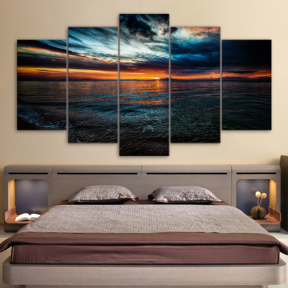 Limited Edition 5 Piece Beach At Night Canvas