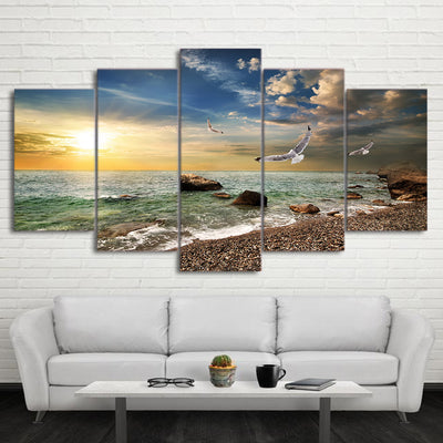 Limited Edition Beach Coast With Birds Canvas