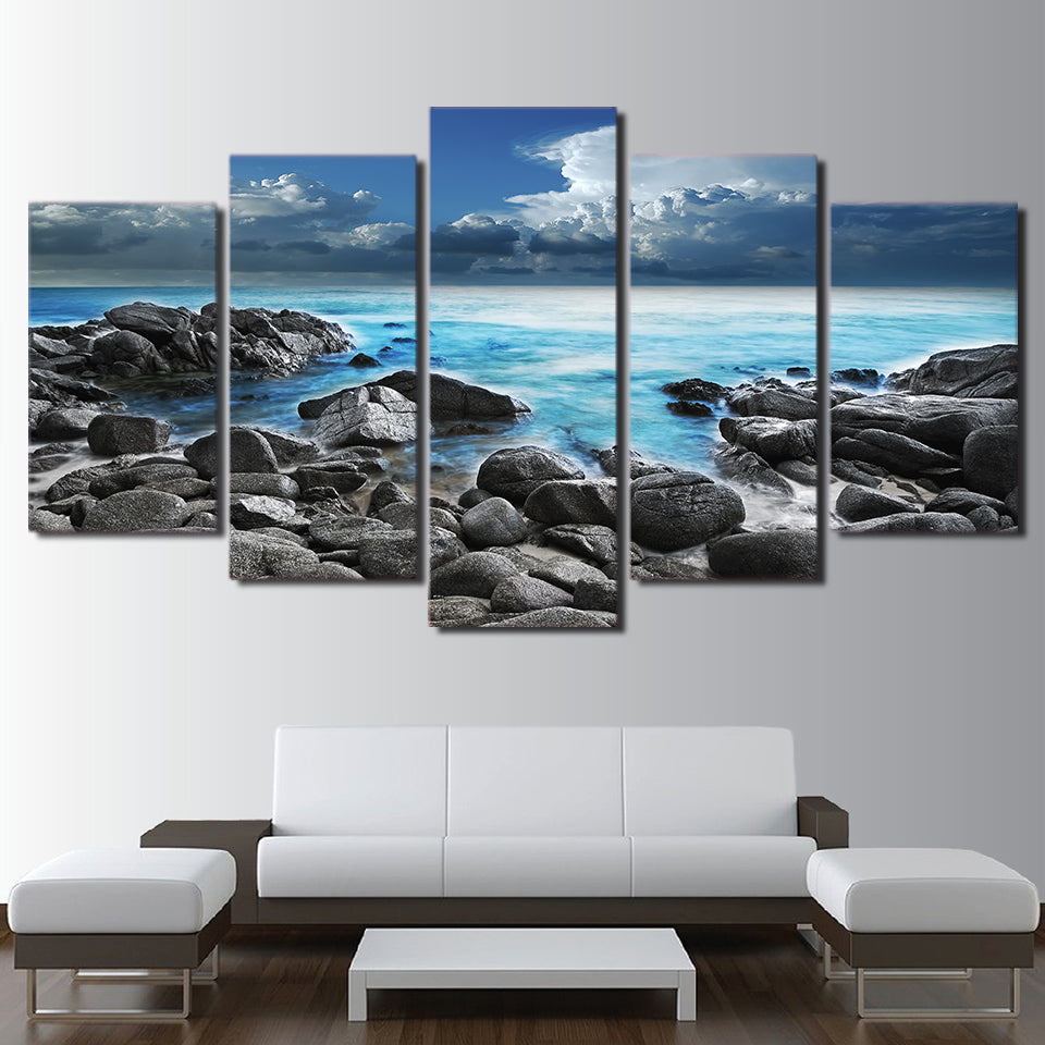 Limited Edition 5 Piece Seashore With Rocks Canvas