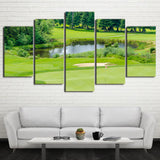 Limited Edition 5 Piece Beautiful Green Golf Course Canvas
