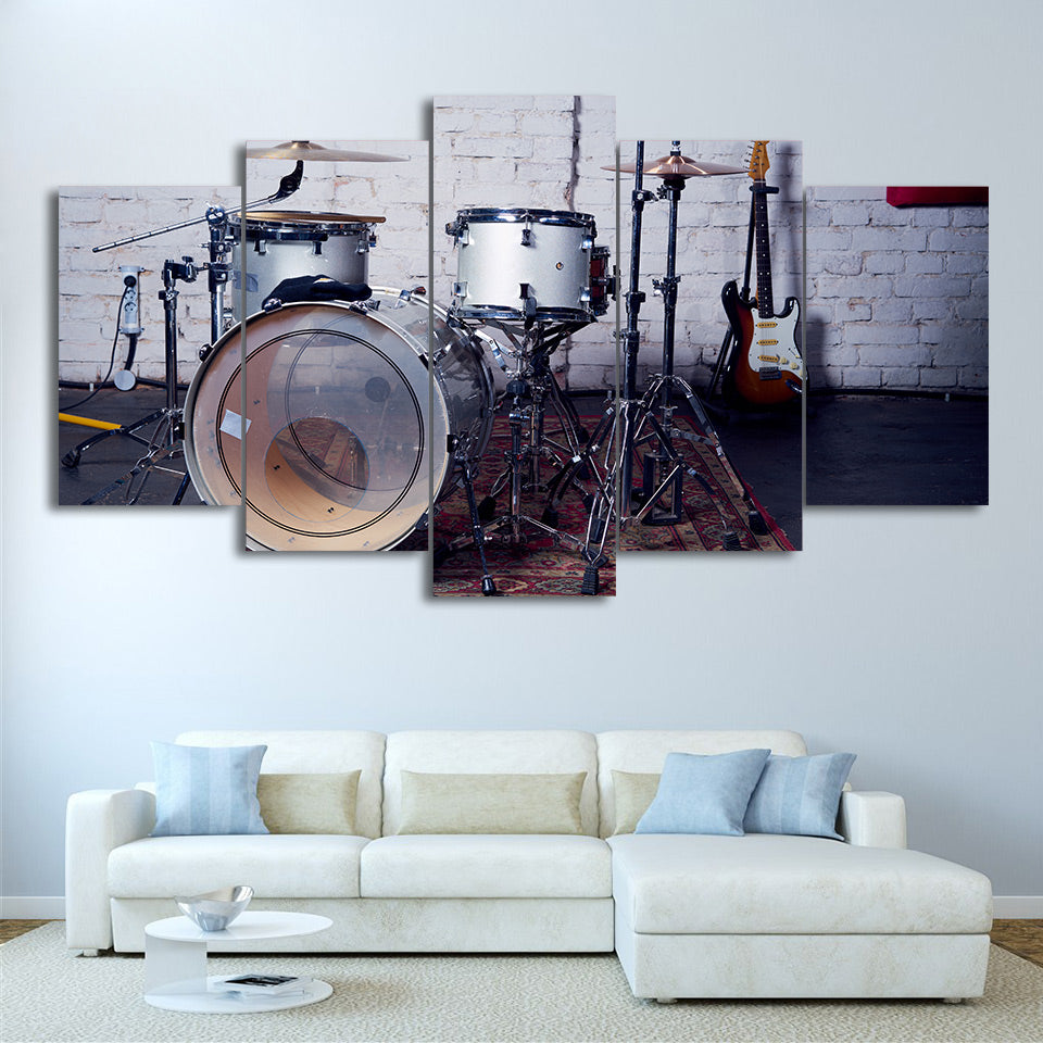 Limited Edition 5 Piece Beautiful White Drum Set Canvas