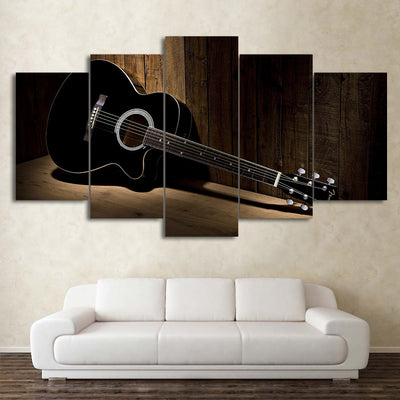 Limited Edition 5 Piece Black Acoustic Guitar Canvas