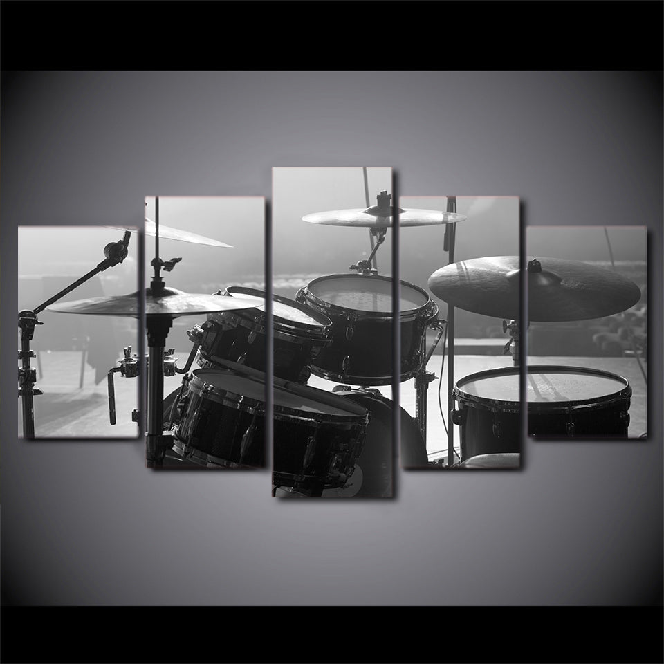 Limited Edition 5 Piece Black And White Drum Set Canvas