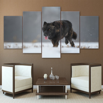 Limited Edition 5 Piece Black Wolf In Snow Canvas