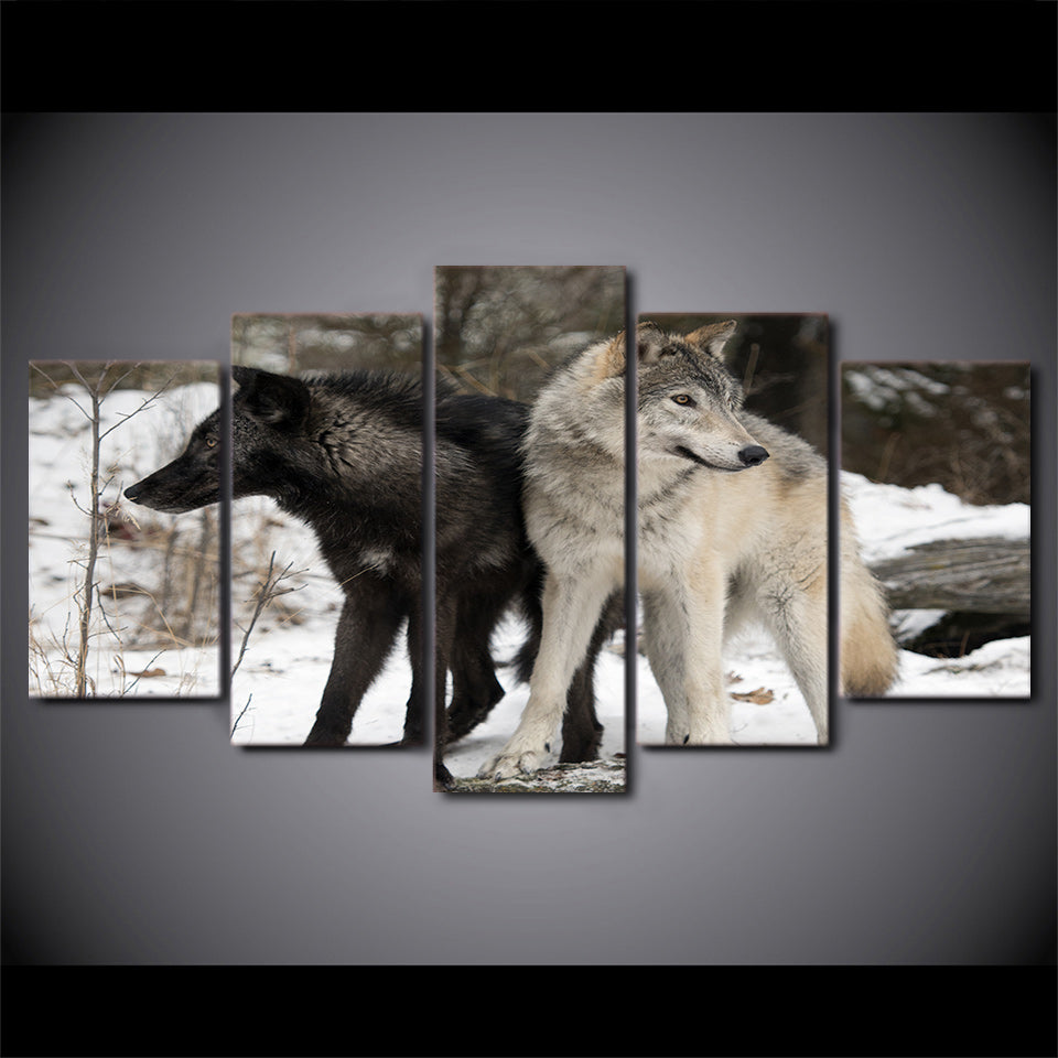 Limited Edition 5 Piece Black and White Wolf In Snow Canvas