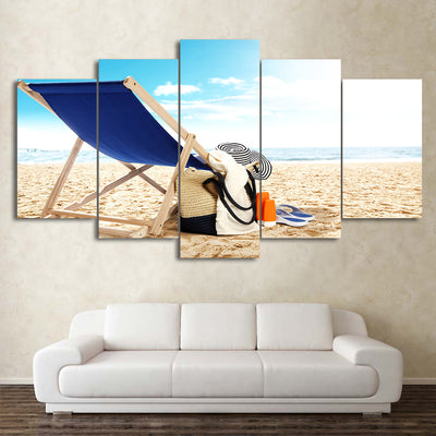 Limited Edition 5 Piece Blue Chair At The Beach Canvas