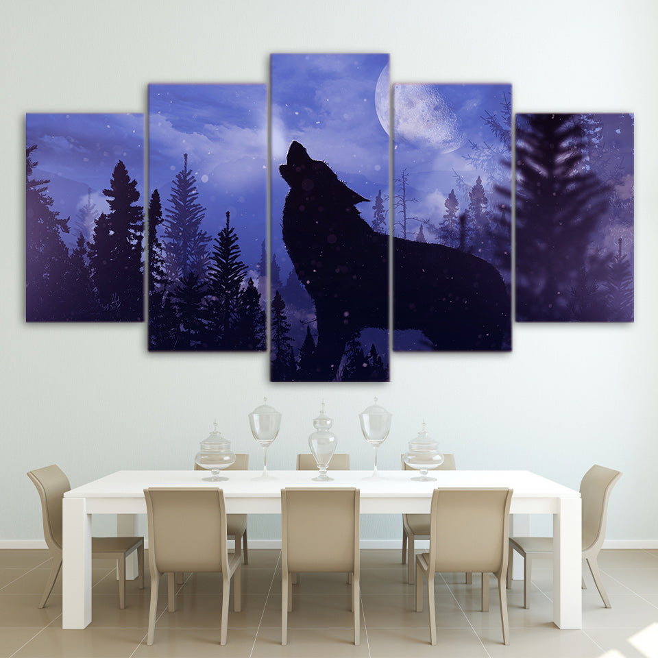 Limited Edition 5 Piece Blue Moon Night Black Wolf Canvas