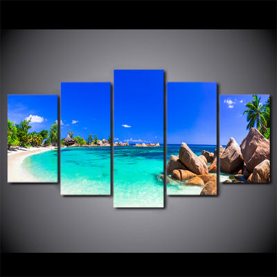 Limited Edition 5 Piece Blue Sky On A White Sand Beach Canvas