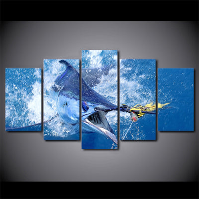 Limited Edition 5 Piece Captured Blue Fish Canvas