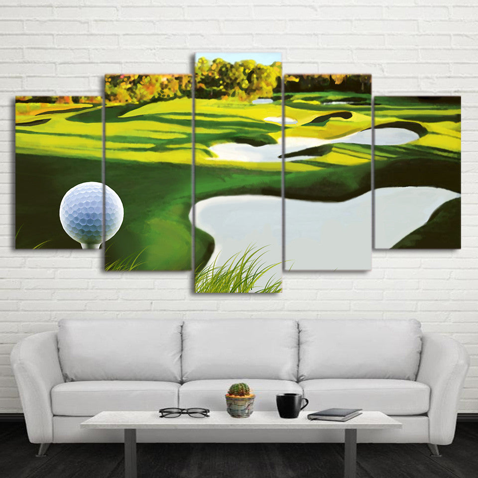 Limited Edition 5 Piece Golf Course Painting With Ball Canvas