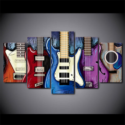 Limited Edition 5 Piece Colorful Electric Guitar Canvas