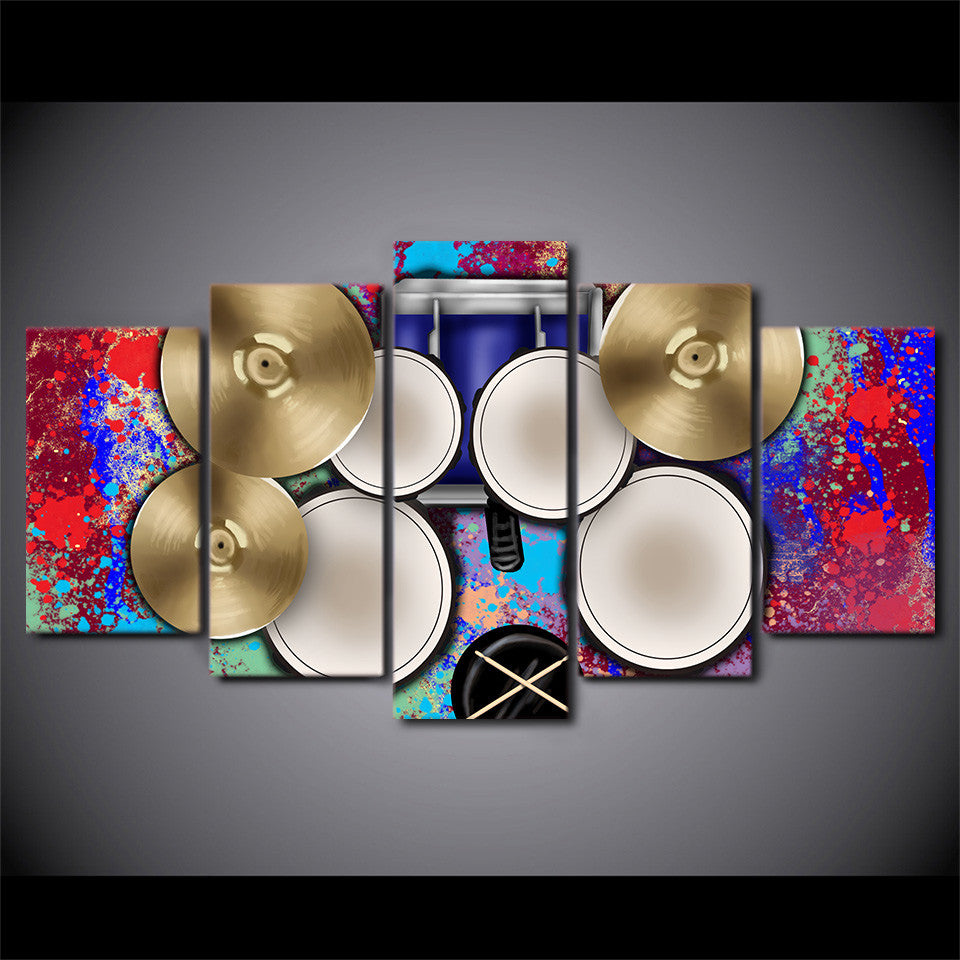 Limited Edition 5 Piece Drum And Cymbals Canvas