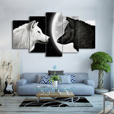 Limited Edition 5 Piece Black And White Wolf in Moon Canvas