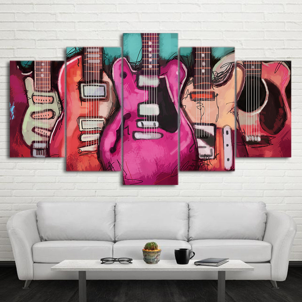 Limited Edition 5 Piece Colorful Abstract Electric Guitar Canvas