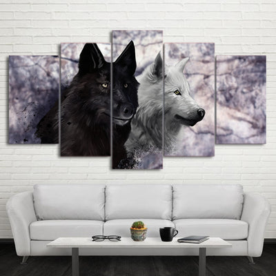 Limited Edition 5 Piece Awesome Black And White Wolf  Canvas