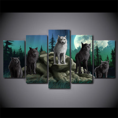 Limited Edition 5 Piece Artistic Group Of Wolves At Night Canvas