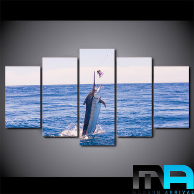 Limited Edition 5 Piece Amazing Blue Fish To Catch Canvas