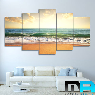 Limited Edition 5 Piece White Wavy Beach In Sunset Canvas