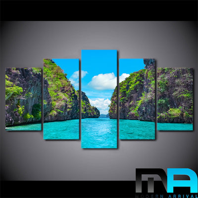 Limited Edition 5 Piece Two Island Beach View Canvas