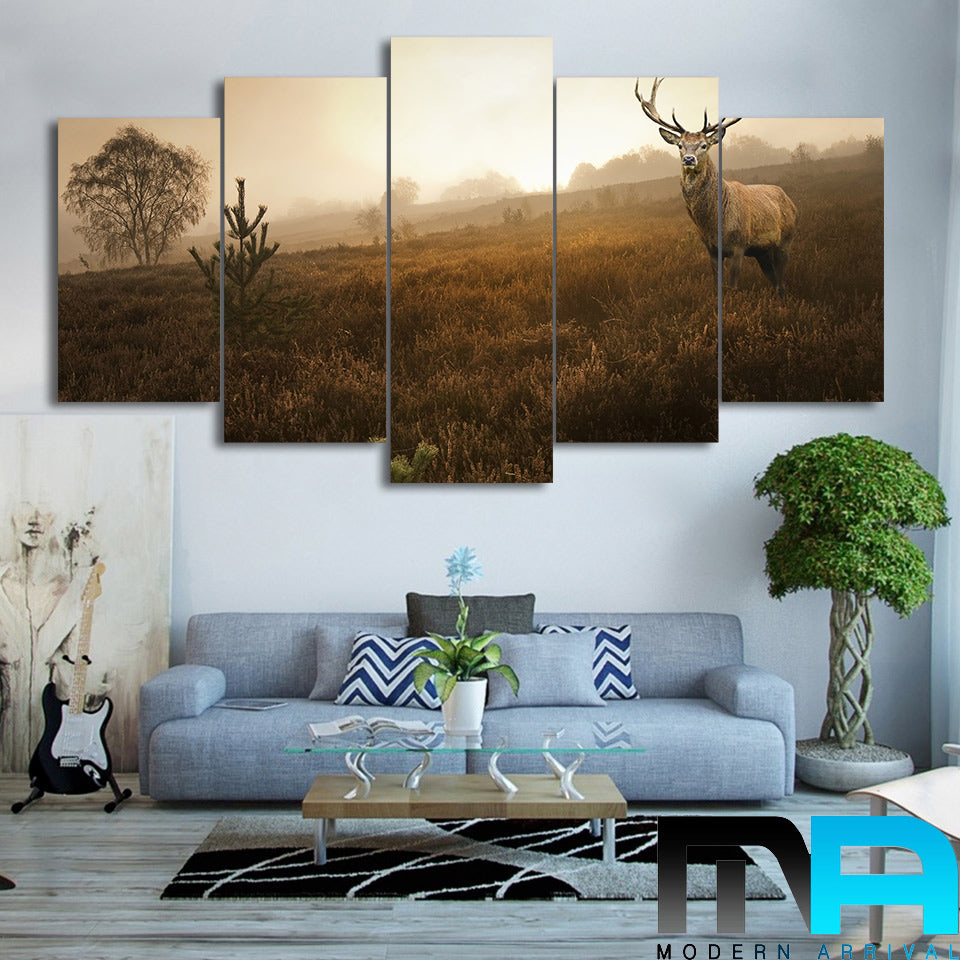 Limited Edition 5 Piece Deer In The Grass Canvas