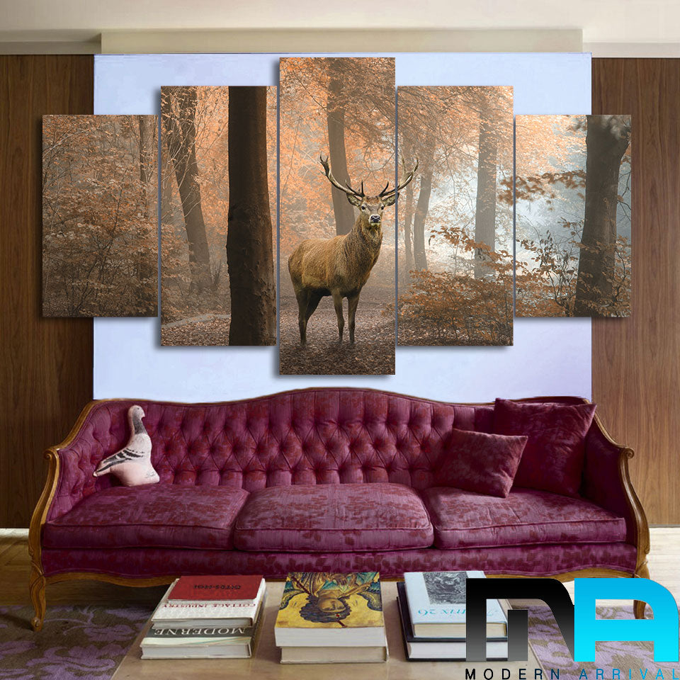 Limited Edition 5 Piece Deer In A Spring Forest Canvas