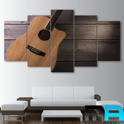 Limited Edition 5 Piece Classic Guitar In Wood Background Canvas