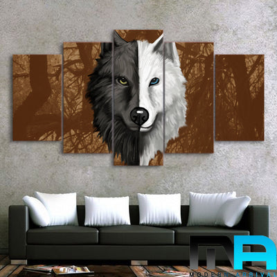 Limited Edition 5 Piece Half Black and White Wolf Canvas