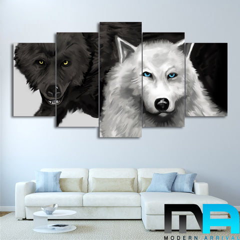 d0915bab3be Limited Edition 5 Piece Couple Black and White Wolves Canvas – Modern  Arrival