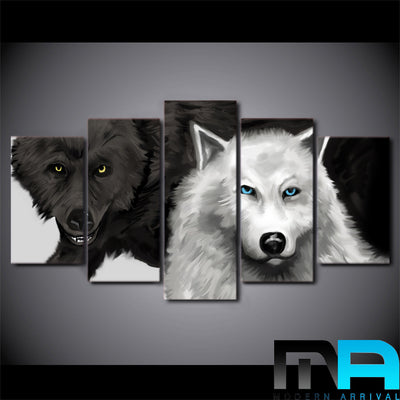 Limited Edition 5 Piece Couple Black and White Wolves Canvas