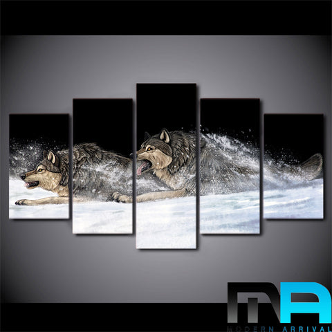 Limited Edition 5 Piece Crawling Wolves Canvas
