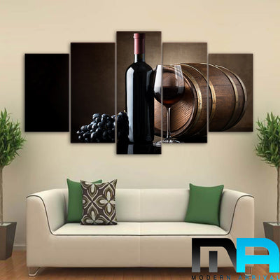 Limited Edition 5 Piece Grape Wine With Barrel Canvas