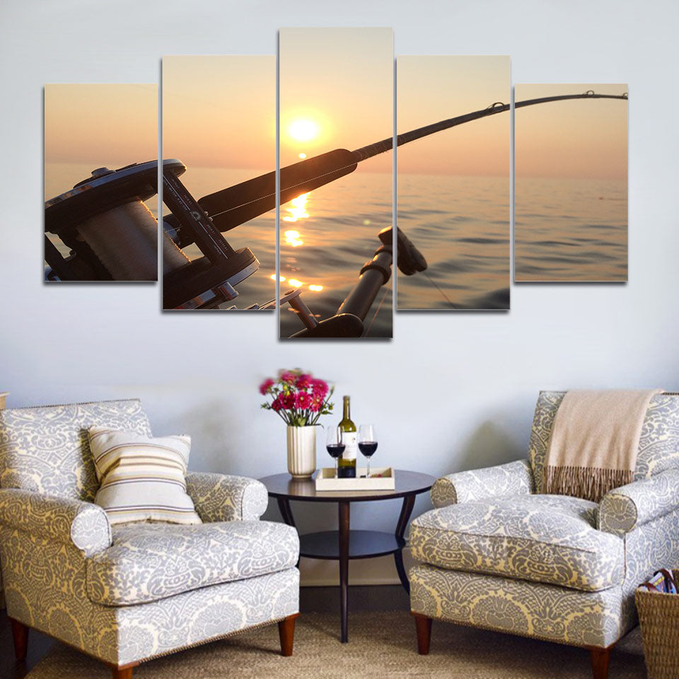 Limited Edition 5 Piece Fishing In A Beautiful Sunset  Canvas