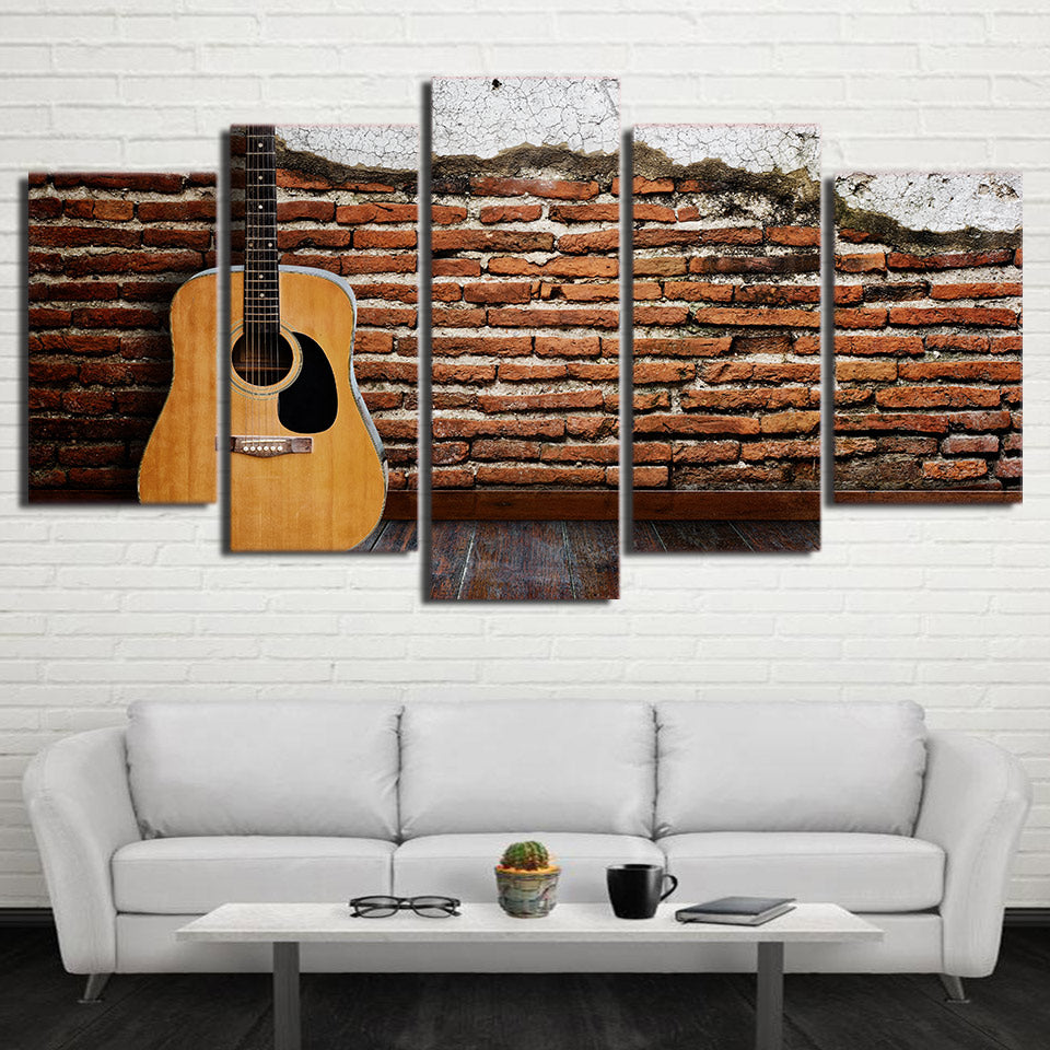 Limited Edition 5 Piece Classic Guitar Standing In A Wall Canvas