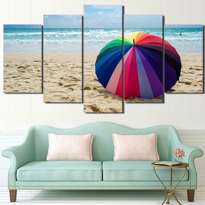 Limited Edition 5 Piece Colorful Beach Umbrella Canvas