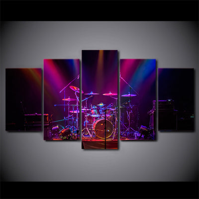 Limited Edition 5 Piece Colorful Drum Set On The Stage Canvas