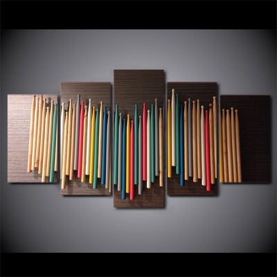 Limited Edition 5 Piece Colorful Drumsticks Canvas