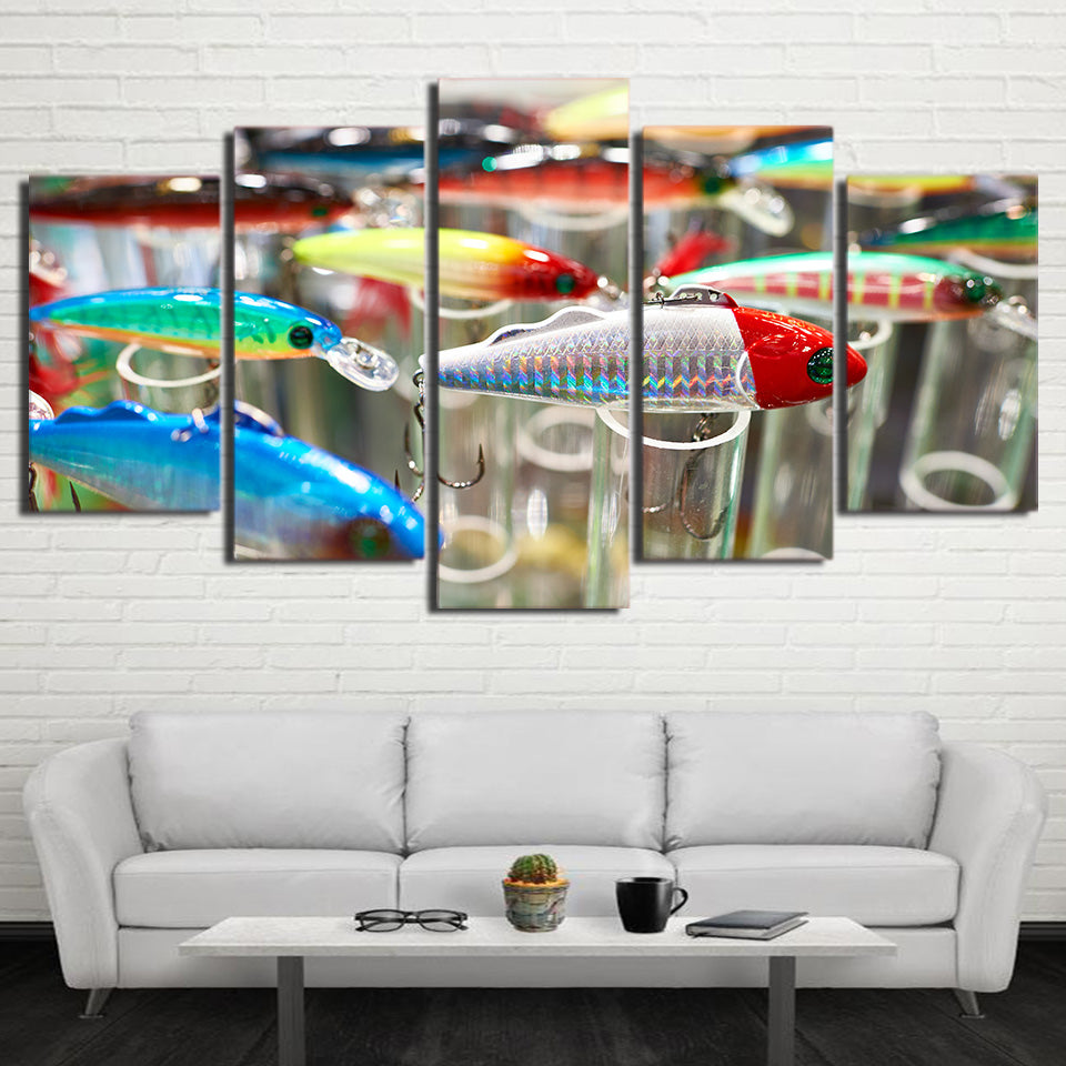 Limited Edition 5 Piece Colorful Fishing Hooks Canvas