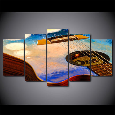Limited Edition 5 Piece Colorful Abstract Guitar Canvas